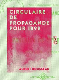 Circulaire de propagande pour 1892