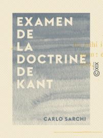 Examen de la doctrine de Kant